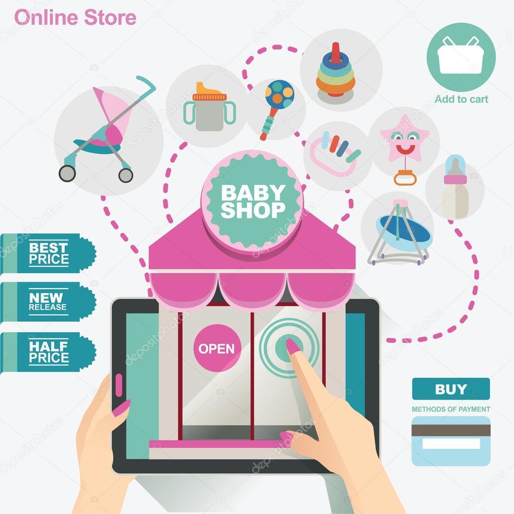 Ilustración y concepto de plantilla de banner para la tienda de bebé ...