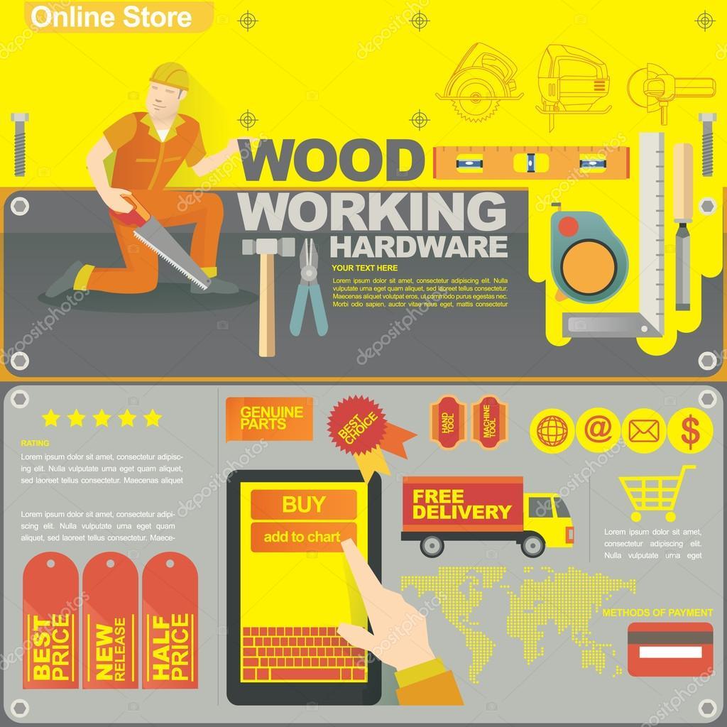 Plantilla de banner concepto e ilustración para tienda online de ...