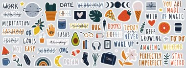 Set of stickers on different topics for daily planner or bullet journaling. Hand drawn doodles and handwritten modern lettering and quotes vector illustrations. icon