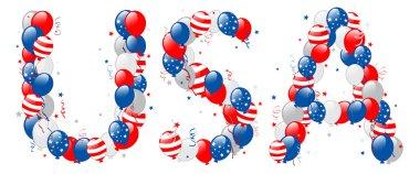Decorative balloons USA text