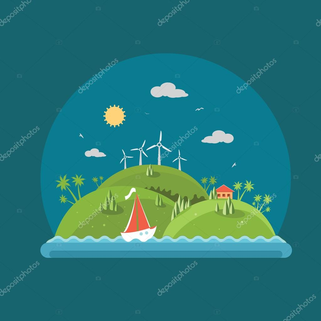 Nature - Flat design vector summer time landscape concept illust