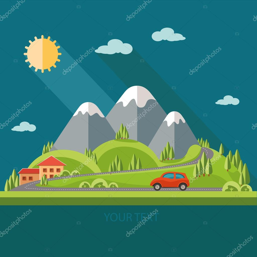 Nature - summer landscape.Red car, the road to the mountains, be