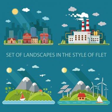 Nature icons set. Mountain landscape, cityscape, energy theme, i