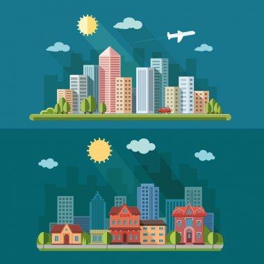 """Картина, постер, плакат, фотообои """"городской пейзаж иллюстрации набора. большой город, мегаполис улица """", артикул 69866141"""