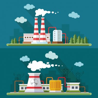 Industrial landscape set. The nuclear power plant and factory on
