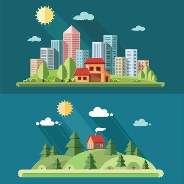 """Картина, постер, плакат, фотообои """"Природа комплект - загородный дом на фоне большого города. сельских районах """", артикул 69866325"""
