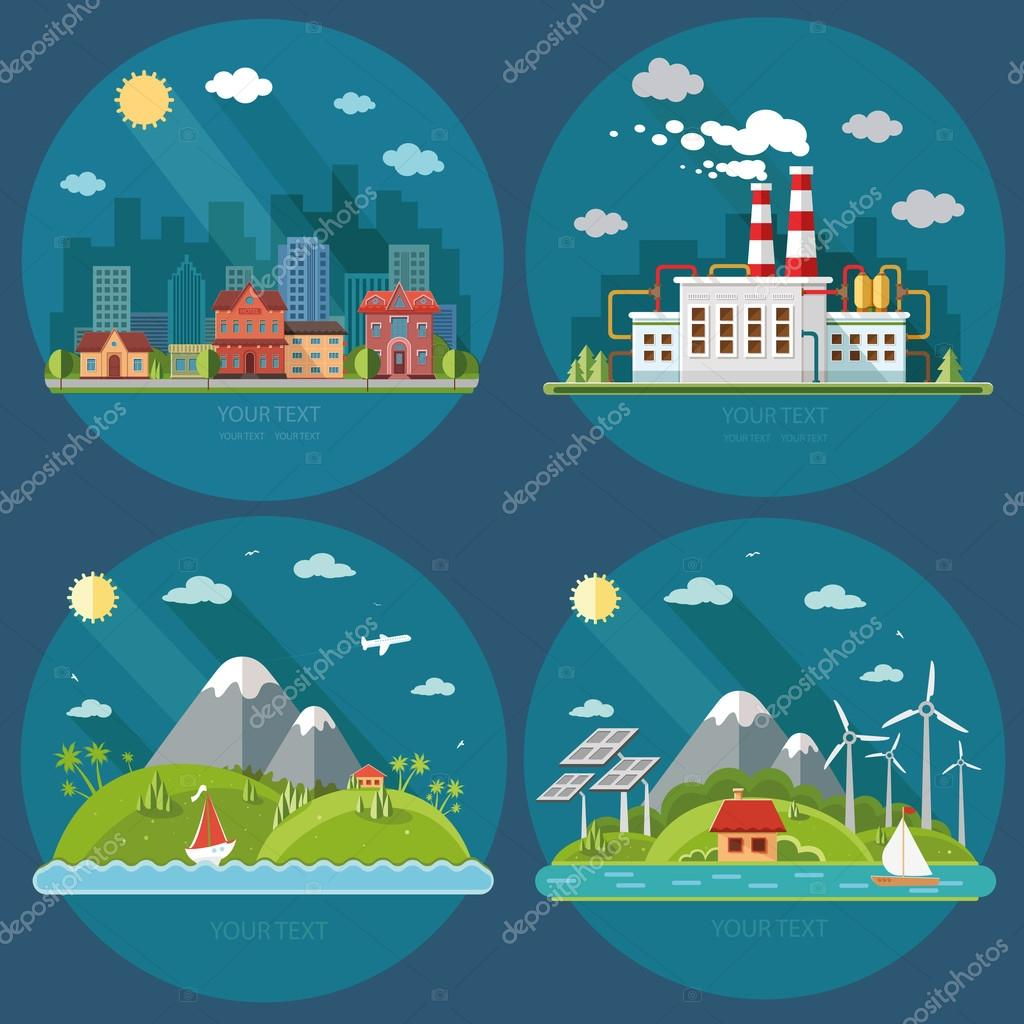 Nature icons set. Mountain landscape, cityscape, energy theme, i