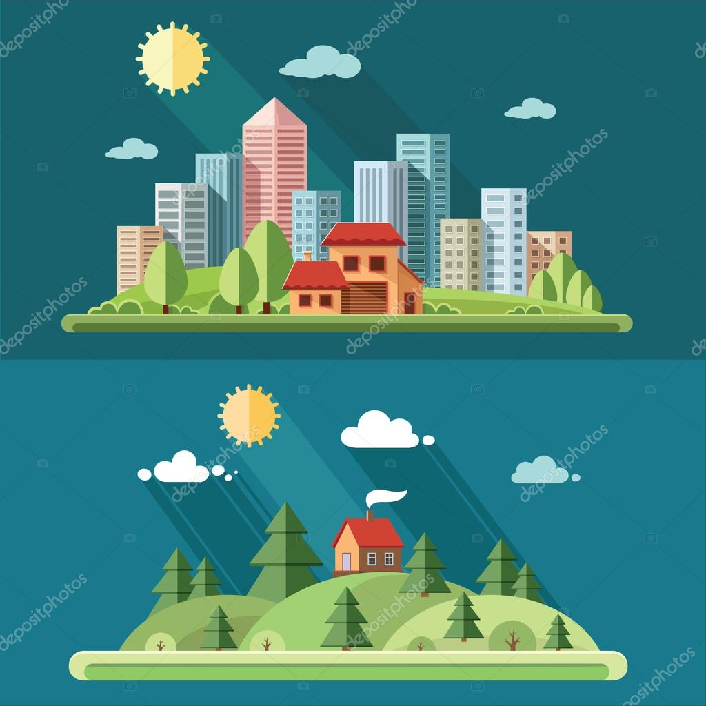 Nature set - Country house on a background of a big city. rural