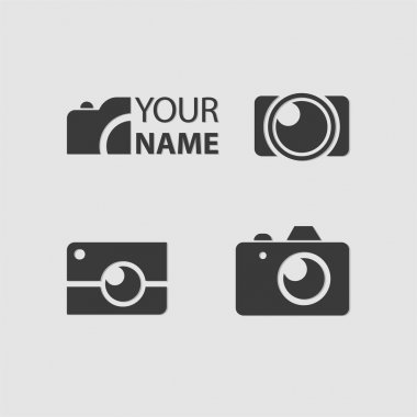 Logo Photos, Camera logo vector set. Trendy flat Hipster camera
