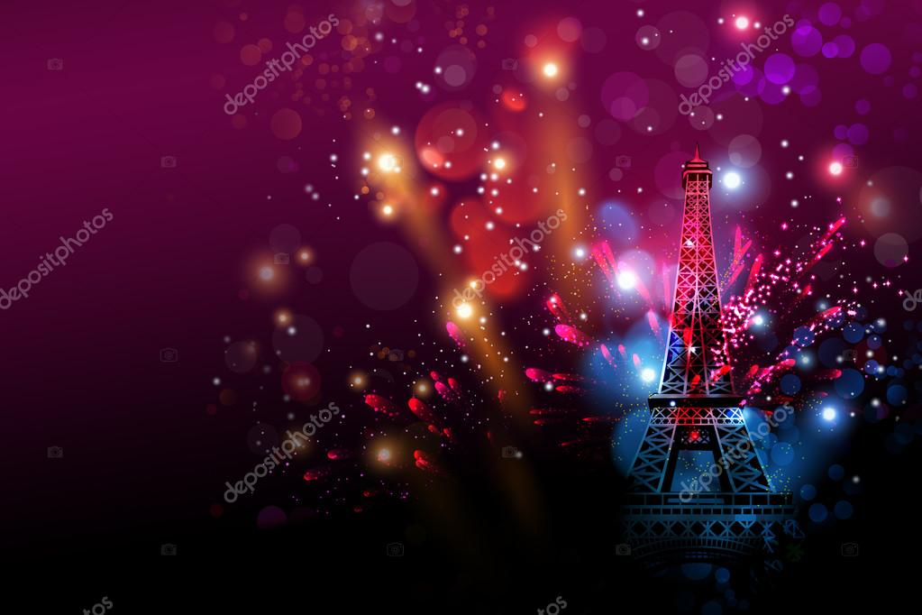 happy new year fireworks paris with eiffel tower or france day celebration stock photo