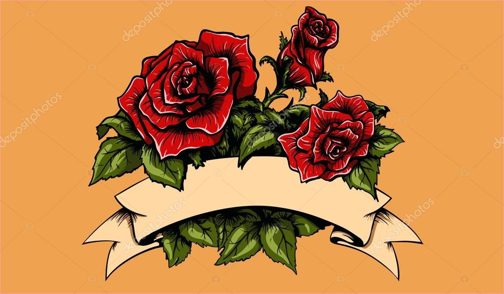 Tattoo Roses and Banner