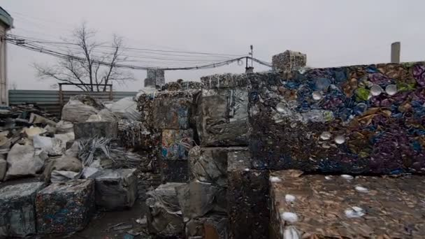 Piles of Scrap Steel Prepared For Smelting