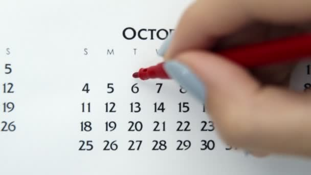 Female hand circle day in calendar date with a red marker. Business Basics Wall Calendar Planner and Organizer. October 6th