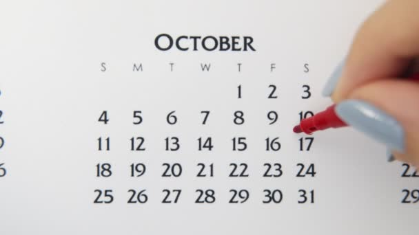 Female hand circle day in calendar date with a red marker. Business Basics Wall Calendar Planner and Organizer. October 17th