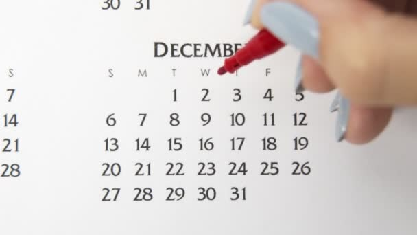 Female hand circle day in calendar date with a red marker. Business Basics Wall Calendar Planner and Organizer. December 2th