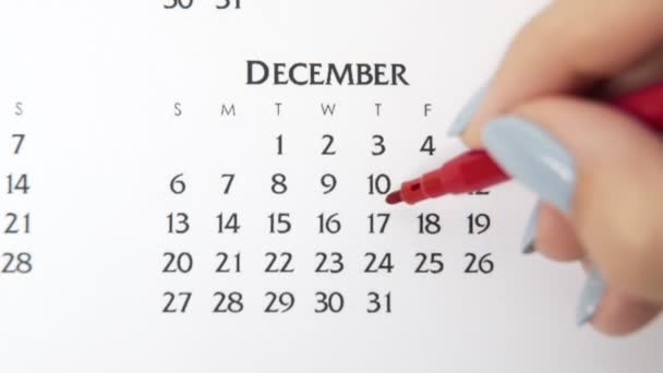 Female hand circle day in calendar date with a red marker. Business Basics Wall Calendar Planner and Organizer. December 17th