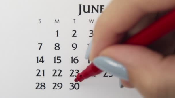 Female hand circle day in calendar date with a red marker. Business Basics Wall Calendar Planner and Organizer. June 30th