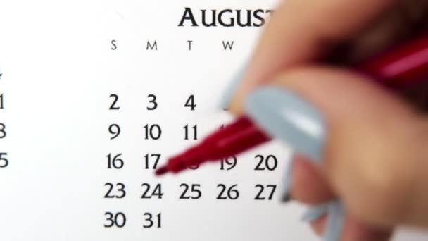 Samice kruh den v kalendářním datu s červenou značkou. Business Basics Wall Calendar Planner and Organizer. 30. srpna