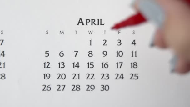Female hand circle day in calendar date with a red marker. Business Basics Wall Calendar Planner and Organizer. APRIL 2th