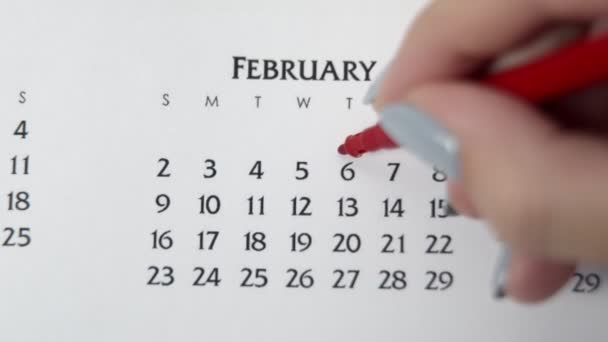 Female hand circle day in calendar date with a red marker. Business Basics Wall Calendar Planner and Organizer. FEBRUARY 6th