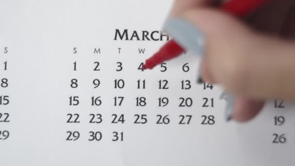 Female hand circle day in calendar date with a red marker. Business Basics Wall Calendar Planner and Organizer. MARCH 11th