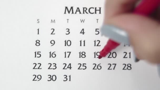 Female hand circle day in calendar date with a red marker. Business Basics Wall Calendar Planner and Organizer. MARCH 26th