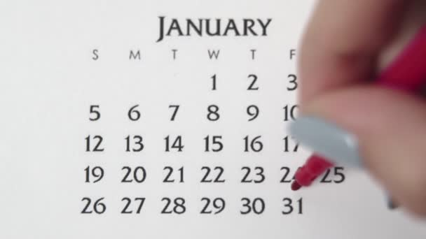 Female hand circle day in calendar date with a red marker. Business Basics Wall Calendar Planner and Organizer. JANUARY 31th