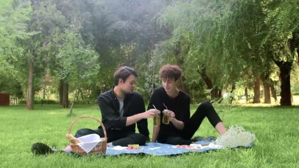 Két fiatal srác üldögél egy pikniken, beszélgetnek és iszogatnak nyáron.
