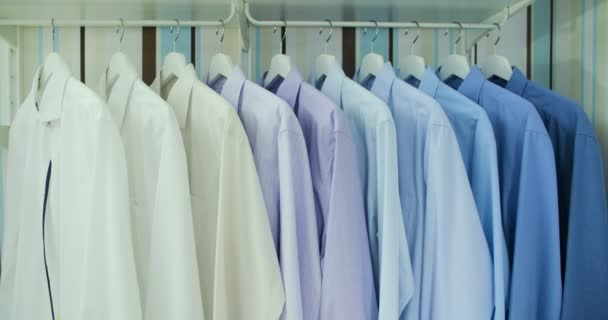 Clean ironed mens shirts set in colors hanging on hangers in the wardrobe