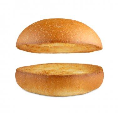 Hamburger burger empty bun isolated at white