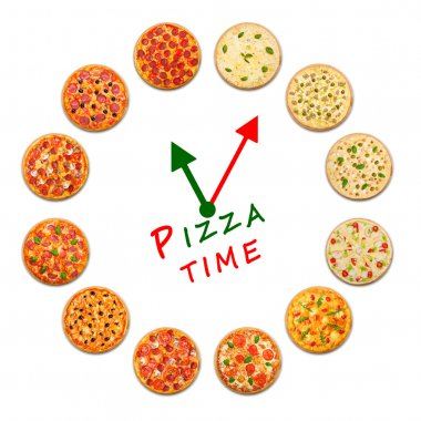 Pizza time. Clock from italian food.