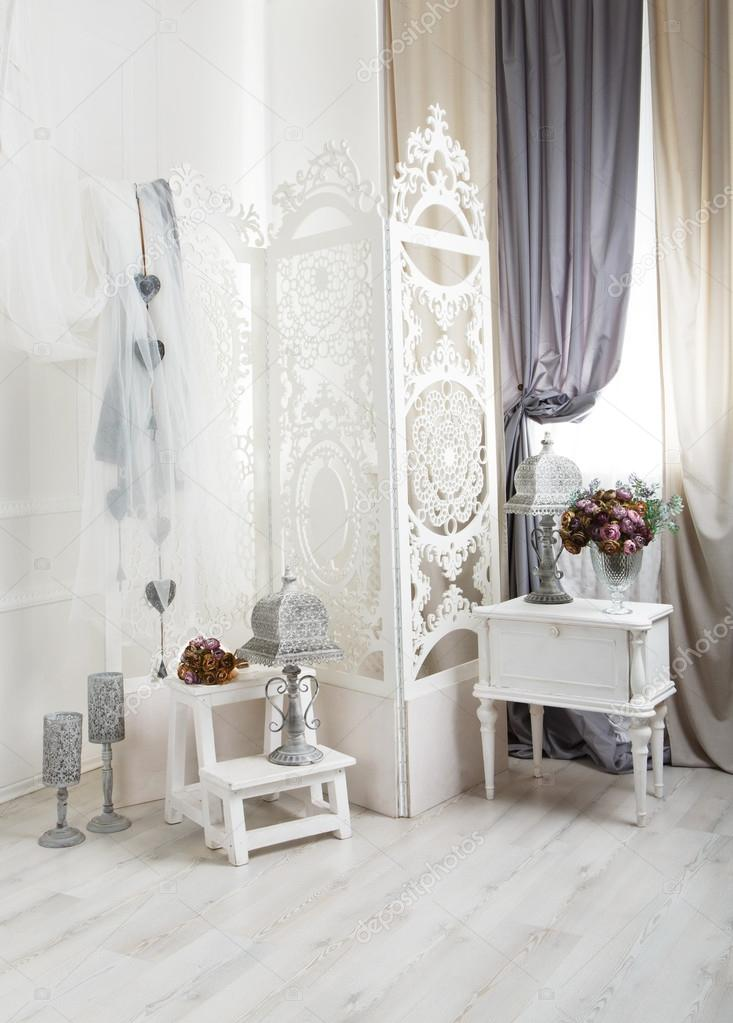 shabby chic white room interior wedding decor Stock Photo