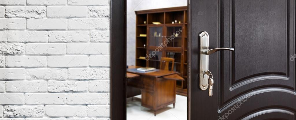 open door welcome church half open door welcome to the office stock photo milkos 107425810