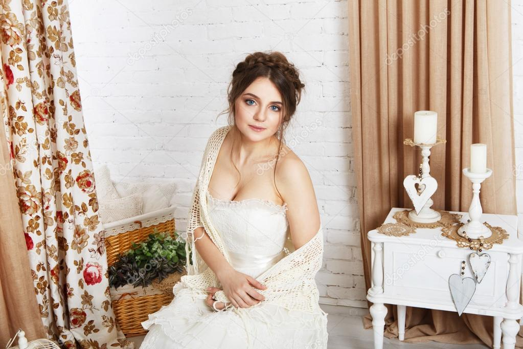 Beautiful young bride in crochet shawl and dress — Stock Photo ...