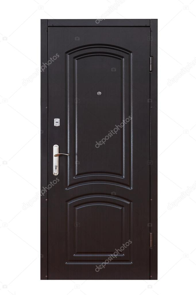 Black wooden closed door isolated on white