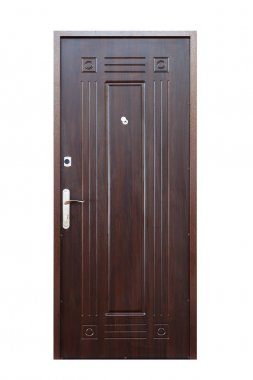 Brown wenge wooden closed door isolated on white