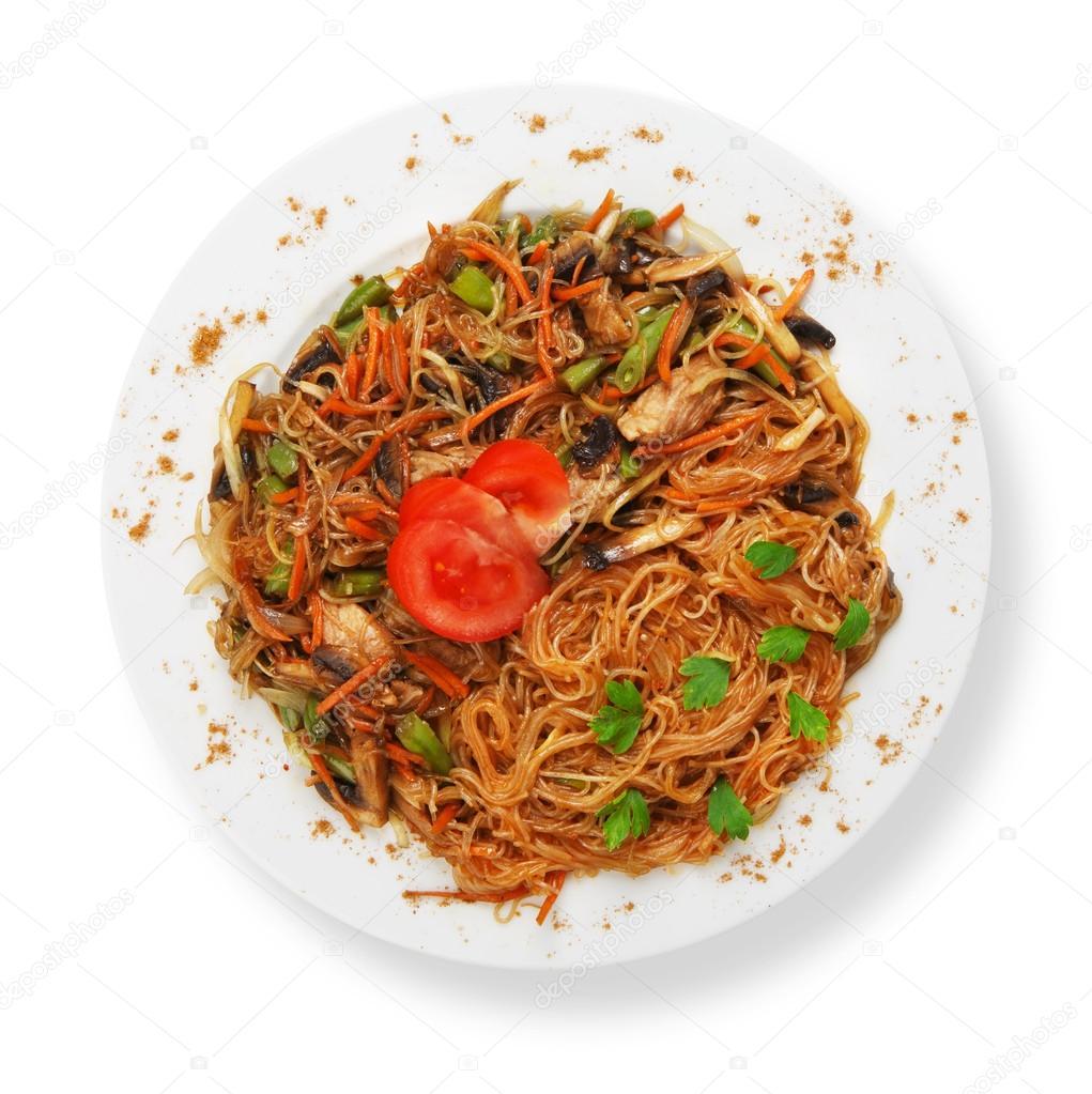 Kuchnia Azjatycka Makaron Smażony Ryż Tajski Zdjęcie