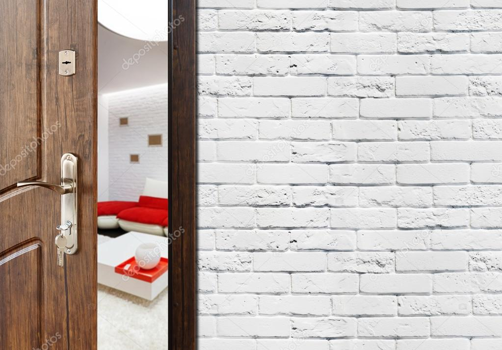 Halb geöffnete tür  Halb offene Tür von einer modernen Wohnzimmer-Nahaufnahme ...