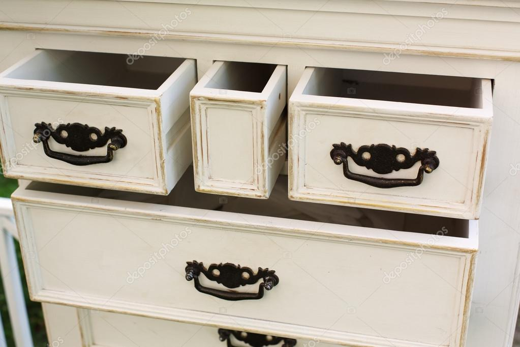 Vintage Wooden Chest Of Drawers With Black Metal Handles