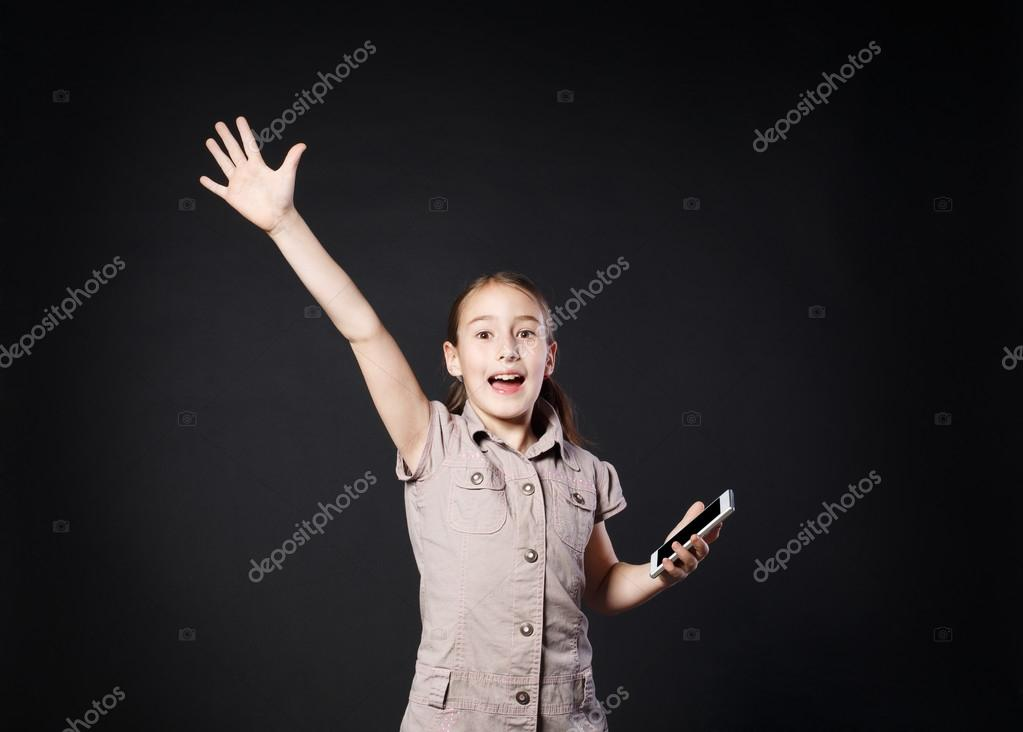 Portrait of surprised girl touch screen on mobile phone — Stock ...