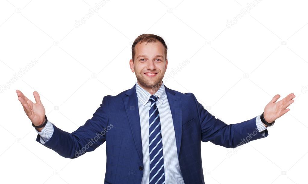 empresario exitoso feliz joven aislado en blanco fotos de stock