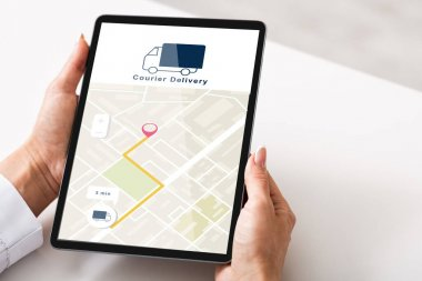 Courier delivery check, gps navigation and online shopping