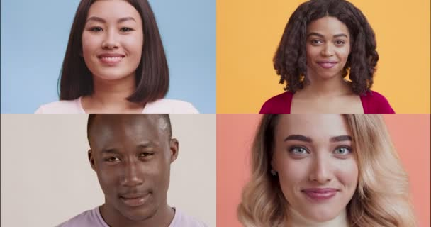 Creative collage of young playful diverse people smiling and winking at camera over colorful background