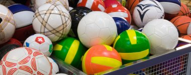 Plenty of volleyballs in the supermarket