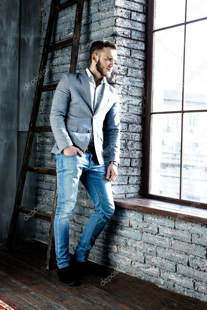 Vestiti Eleganti Con Jeans.Man Wearing Elegant Suit Stock Photo C Smmartynenko 103095246