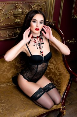 brunette woman with perfect sexy lingerie