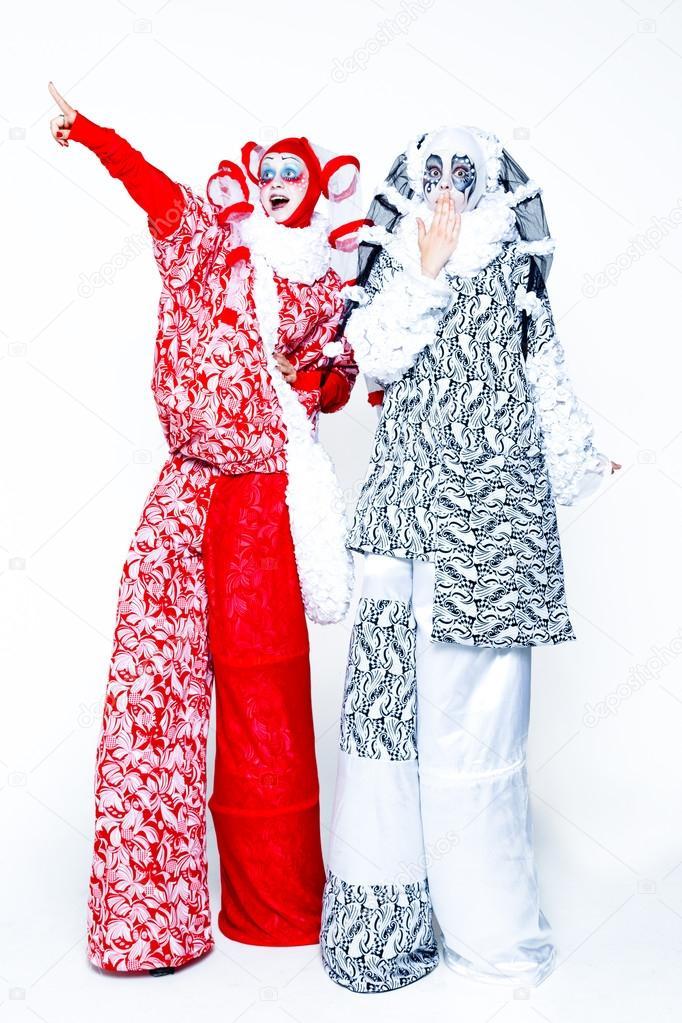 Two cheerful clowns