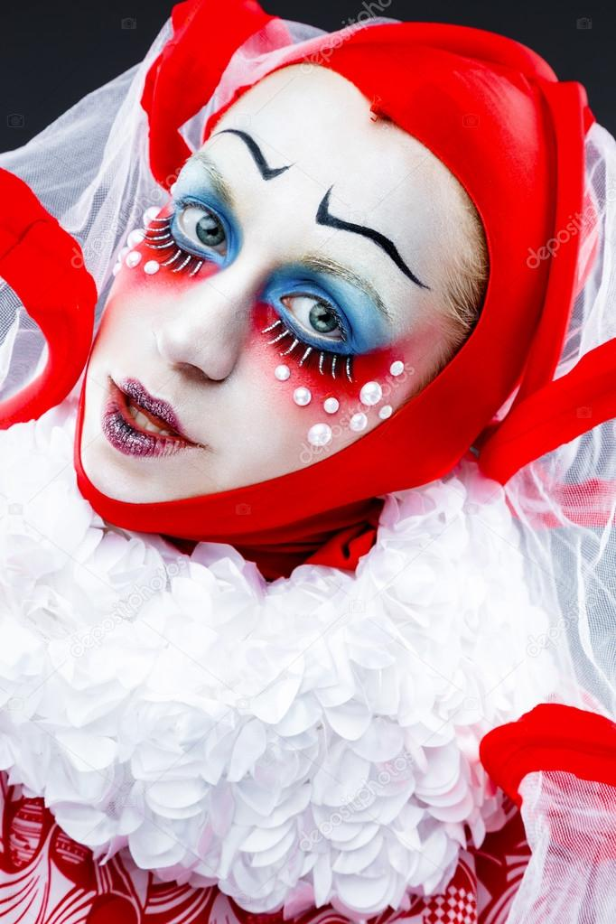 Close up portrait with cheerful clown