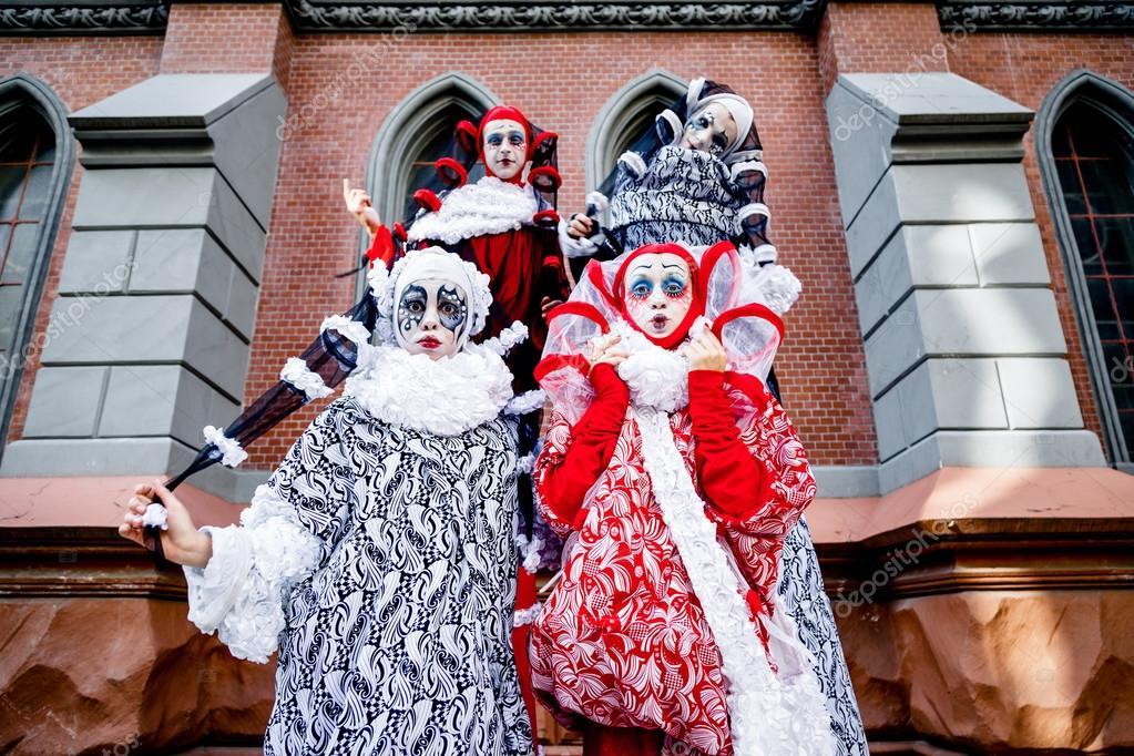 Four cheerful clown