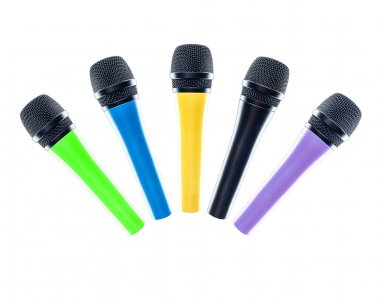 Microphones isolated on the white background.
